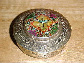 VINTAGE PERSIAN COMPACT W/ HAND PAINTED MOTHER OF PEARL