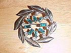 CARL ART SILVER PIN W/ BLUE TOPAZ & DIAMOND RHINESTONES