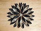 VINTAGE BLACK & WHITE DIAMOND 3 LAYER RHINESTONE BROOCH