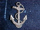 VINTAGE STERLING SILVER SHIP ANCHOR PIN