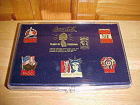 COCA COLA FLAGS OF FREEDOM  LIBERTY CENTENNIAL PIN SET
