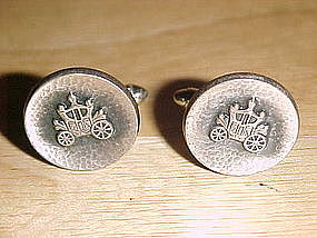VINTAGE STERLING HADLEY CUFFLINKS COACH/CARRIAGE