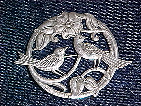 ART DECO STERLING BROOCH W/ BIRDS & FLOWER