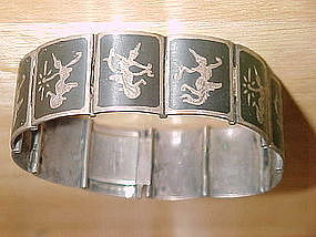 SIAM STERLING SILVER BRACELET W/TRADITIONAL WOMAN DANCE