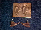 VINTAGE COPPER REBAJES HEART LEAF PIN & EARRING SET