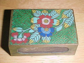 VINTAGE CLOISONNE STICK MATCH BOX HOLDER