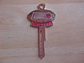 VINTAGE GOLD PLATED MERCURY COMET LOGO KEY BLANK