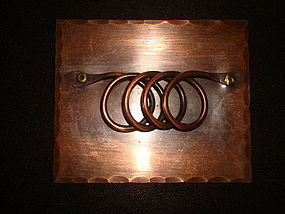 VINTAGE MODERNE COPPER BROOCH RECTANGULAR SHAPE