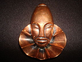 VINTAGE COPPER ETHNIC MASK BROOCH