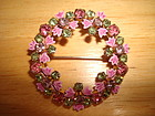 VINTAGE RHINESTONE & ENAMEL WREATH BROOCH/PIN