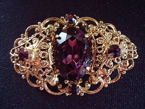 VINTAGE AMETHYST RHINESTONE JEWELED BROOCH/PIN