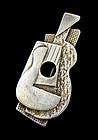 Guyot Modernist Sterling Silver Cubist Guitar Brooch
