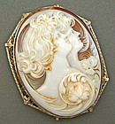 Edwardian Double Cameo Brooch/Pendant - 14K Frame