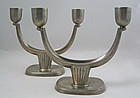 Just Andersen Art Deco Pewter Candlesticks Denmark