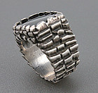 Modernist Sterling Silver and Onyx Mans Ring