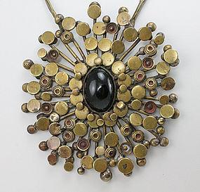 Modernist Brass Cosmic Burst Artisan Necklace 1970