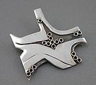 Modernist Artisan Sterling Silver Brooch