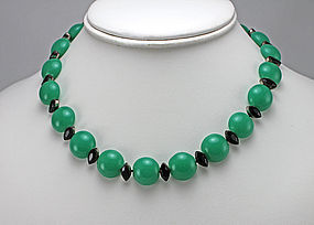 Art Deco Green Onyx Necklace - 1930