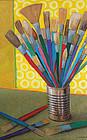 Saul Sophrin Modernist Oil on Board Paint Brushes
