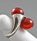 S'Paliu Modernist Sterling and Carnelian Ring Spain