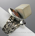 Rachel Gera Ring Sterling and Amber Israel Modernist