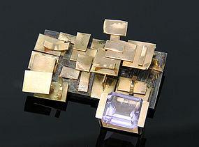 Modernist 14K Gold And Kunzite Brooch