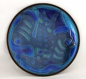 David Andersen Modernist Abstract Enamel Plate - Norway