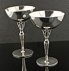 Los Castillo Sterling Goblets Modernist Mexico 1950