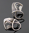Paul Lobel Modernist Sterling Seahorse Earrings 1950