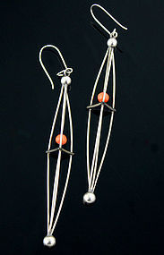 Ed Levin Modernist Sterling and Caged Coral Earrings