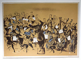 William Gropper Color Lithograph Orchestra 1940