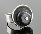 Paul Voltaire Modernist Sterling and Onyx Ring