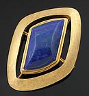 Modernist 14K Gold and Lapis Brooch Pendant 1950 - 60
