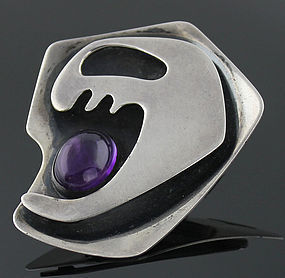 Ed Wiener Modernist Sterling and Amethyst Brooch 1950