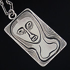 Burkee Modernist Sterling Silver Pendant Necklace 1950