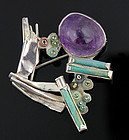 Janiye Modernist Brooch with Amethyst and Rustic Glass