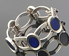 Franz Scheurle Lapis Modernist Sterling and Lapis Bracelet Germany