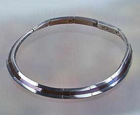 LOS CASTILLO Sterling Silver and Copper Necklace Modernist Mexico