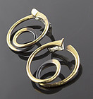 Art Smith Modernist Brass Earrings 1950 Mid Century