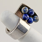 Pekka Piekainen Modernist Sterling and Lapis Ring Finland 1974