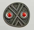 Oswaldo Guayasamin Modernist Sterling and Coral Brooch Ecuador