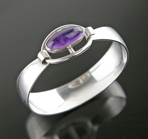 Nils Erik From Modernist Sterling and Amethyst Bracelet Denmark