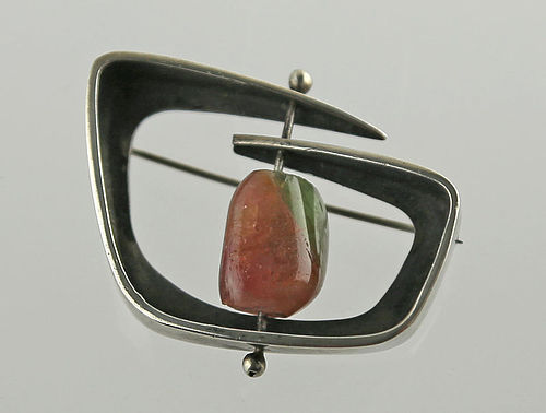 Ed Wiener Modernist Sterling and Agate Brooch 1950