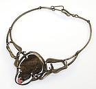 Maxwell Chayat Modernist Sterling and Rhodonite Necklace - 1950