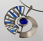 Uno A Erre Modernist Italian Sterling and Enamel Necklace O.P.Orlandi