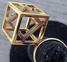 18k Gold & Diamond Modernist Geometric Ring