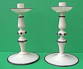 Black and White Murano Art Glass Candleholders