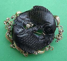 Koi Fish Brooch - Carved Black Coral 14k  & Diamonds