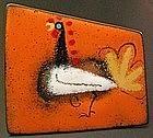 Jason Schoener Modernist Enamel Rooster Pin & Earrings