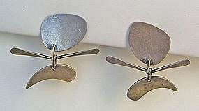 Ed Wiener Modernist Kinetic Sterling Earrings